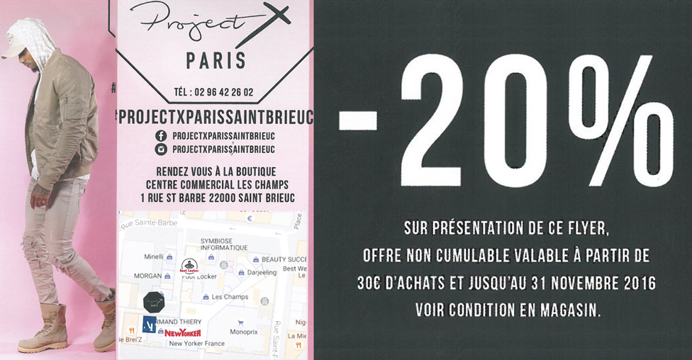 -20% chez Project X Paris